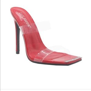 NWB Red heels with transparent straps